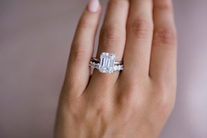 HARPER 6.2 Carat (12x9mm) Elongated Emerald Cut Moissanite Solitaire Engagement Ring With Invisible Wrap In 14k White Gold