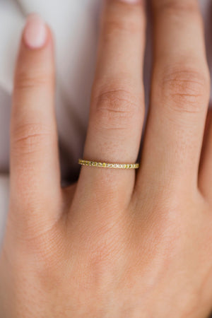ARIA 1.4mm Thin and Dainty Moissanite Eternity or 3/4 Stacking or Wedding Band in 14K Gold, .25CTW
