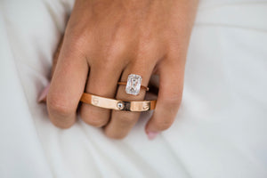 STELLA 4.85 Carat (11.5x8mm) Crisscut Style Moissanite Dainty Double Claw Prong Cathedral Solitaire Engagement Ring in 14K Rose Gold