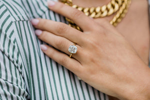 TATUM 4.65 Carat (10.5x9.5mm) Slightly Elongated Crushed Ice Hybrid Cushion Moissanite Solitaire Engagement Ring In 14k Yellow Gold