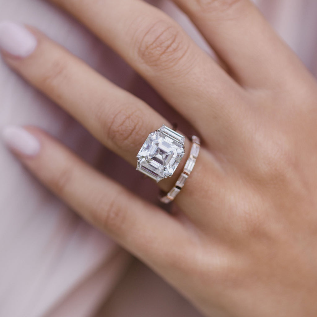 CAMILLA 7 Carat (11.5x10mm) Elongated Old Mine Asscher Moissanite Three Stone Engagement Ring with Trapezoids Set In 14k White Gold