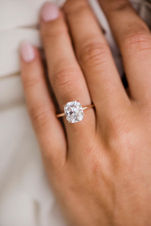 HARPER 4 Carat (10x9) Elongated Old Mine Cushion Moissanite Solitaire Engagement Ring in 14K Rose Gold