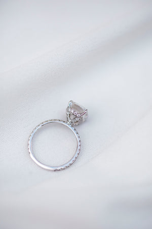 SERENA 3.15 Carat (9.75x8.15mm) Elongated Crushed Ice Elongated Cushion Moissanite Engagement Ring With Pave Setting in 14 White Gold