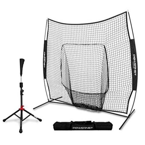 PowerNet Baseball Softball Practice Net 7x7 with Travel Tee
