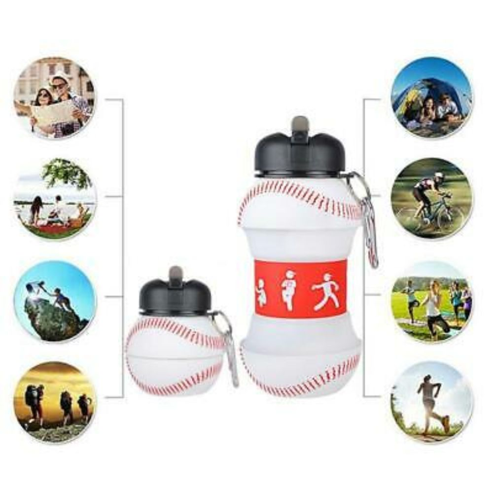 Collapsible Leak Proof Silicone Baseball Water Bottle