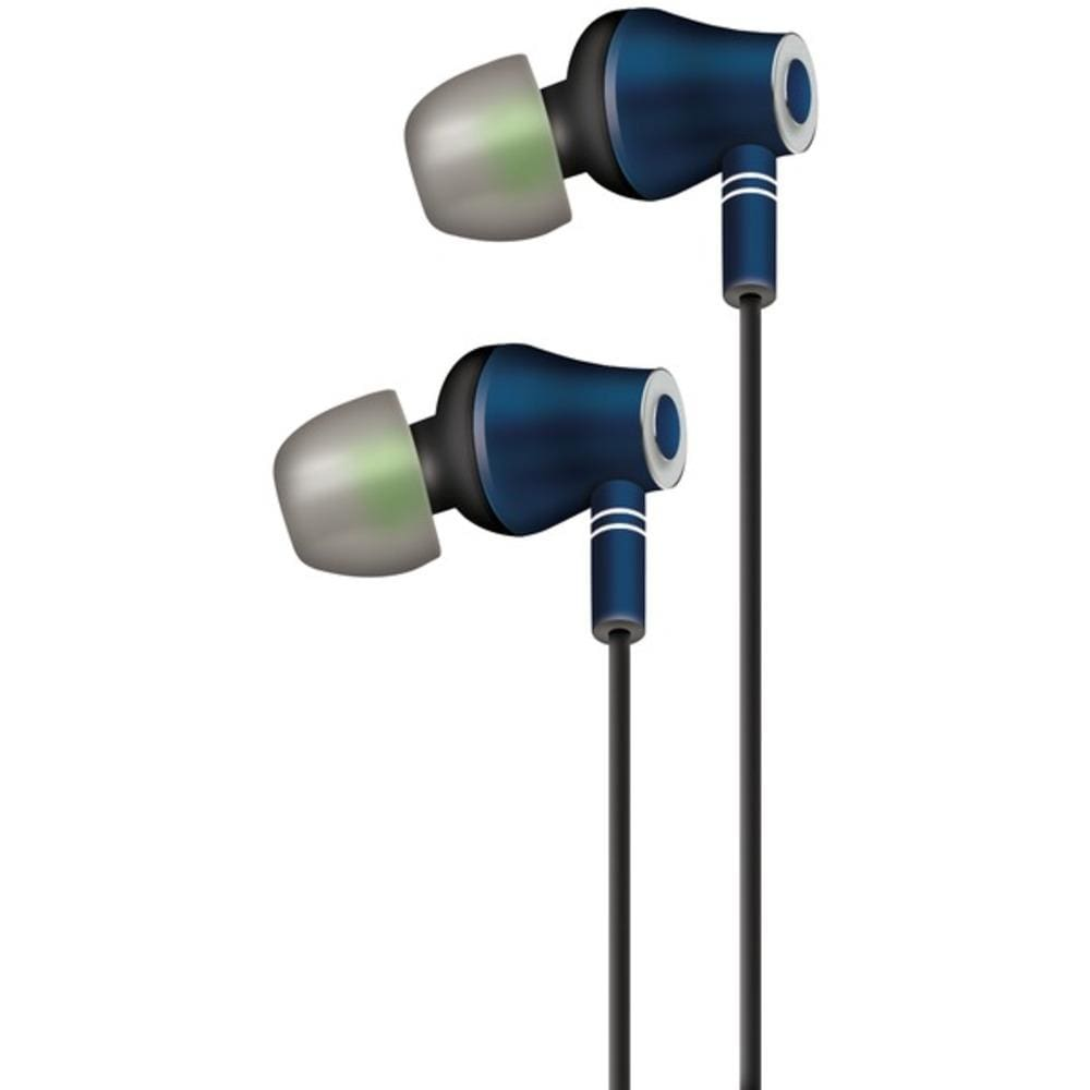 At&t(r) E10-nvy E10 Metallic Stereo Earbuds With Microphone - Sporting Goods