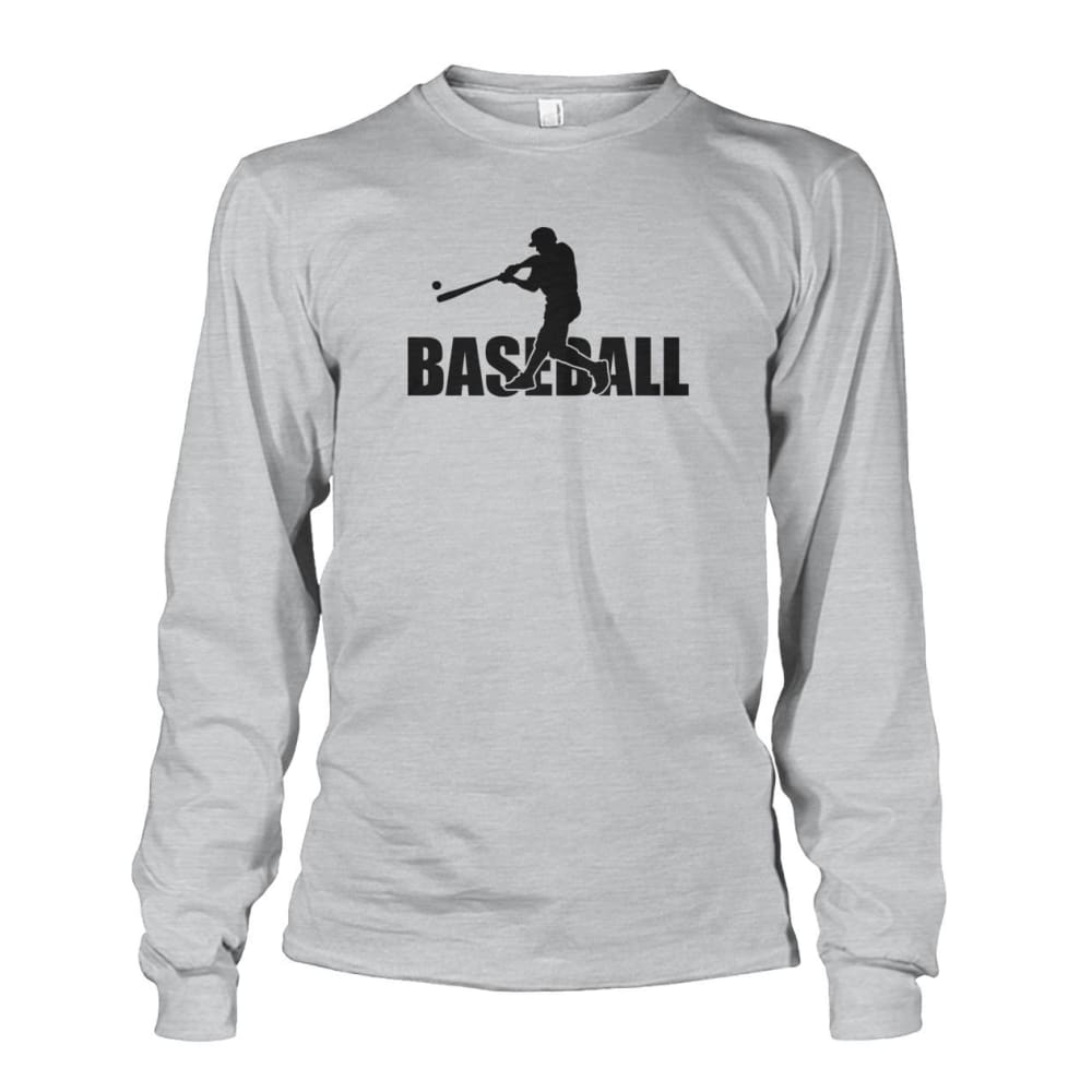 Baseball Home Run Long Sleeve - Ash Grey / S / Unisex Long Sleeve - Long Sleeves