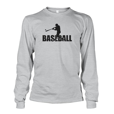 Image of Baseball Home Run Long Sleeve - Ash Grey / S / Unisex Long Sleeve - Long Sleeves