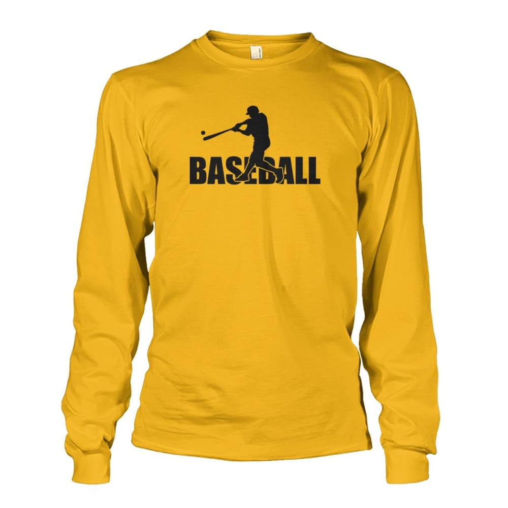 Baseball Home Run Long Sleeve - Gold / S / Unisex Long Sleeve - Long Sleeves