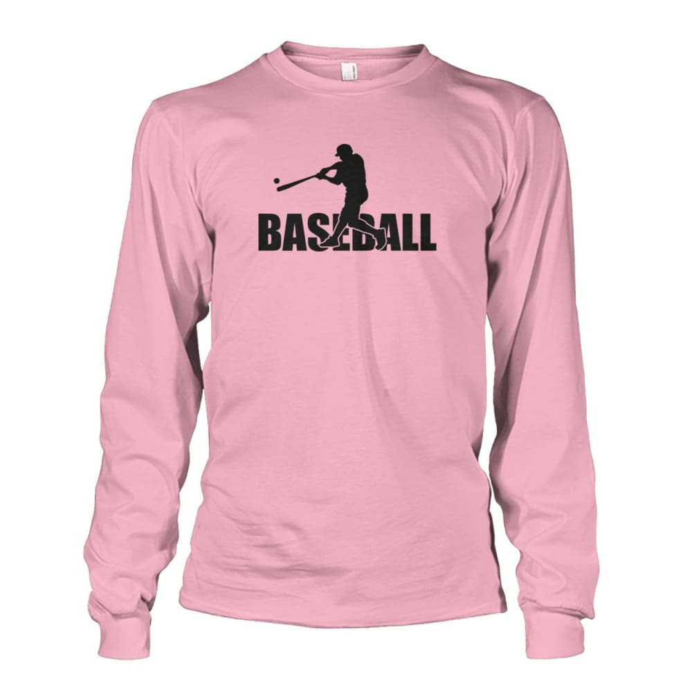 Baseball Home Run Long Sleeve - Light Pink / S / Unisex Long Sleeve - Long Sleeves