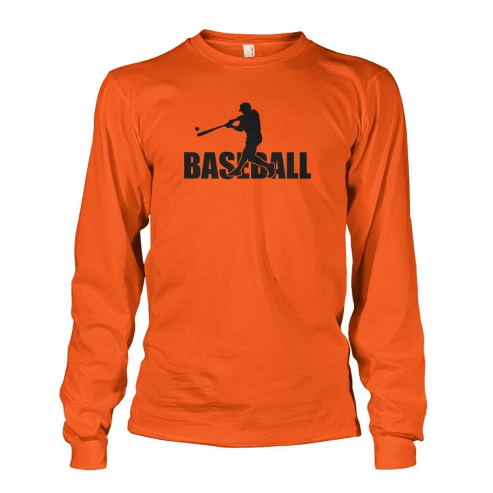 Baseball Home Run Long Sleeve - Orange / S / Unisex Long Sleeve - Long Sleeves