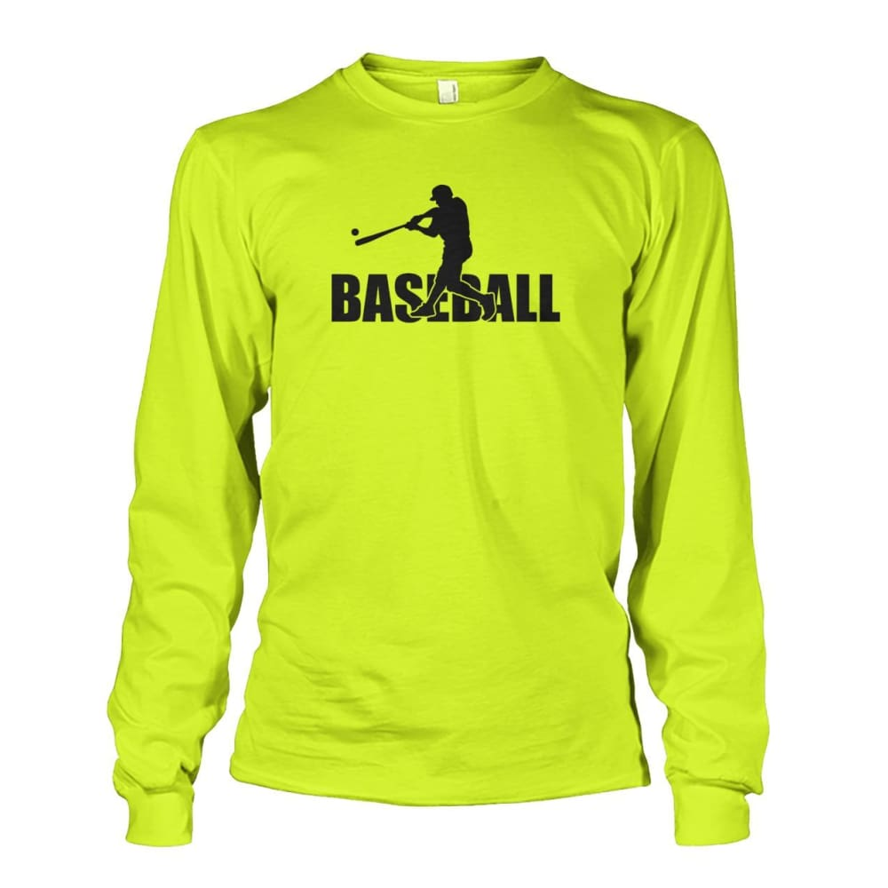 Baseball Home Run Long Sleeve - Safety Green / S / Unisex Long Sleeve - Long Sleeves