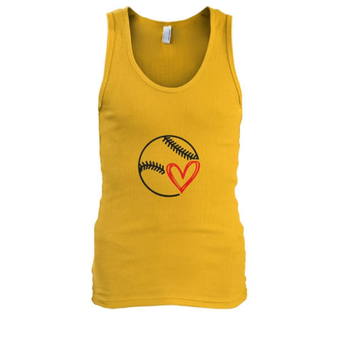 Image of Baseball Love Tank - Gold / S / Mens Tank Top - Tank Tops