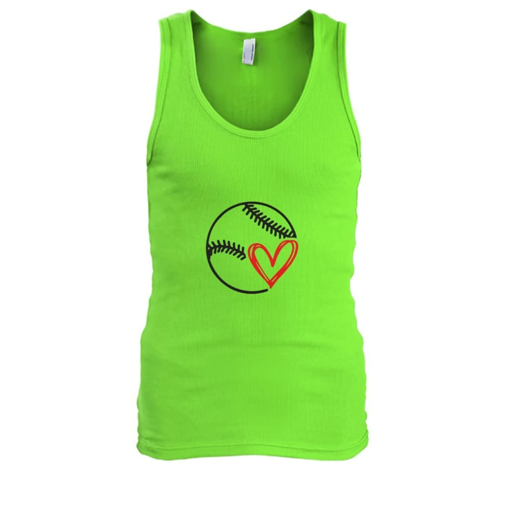 Baseball Love Tank - Lime / S / Mens Tank Top - Tank Tops