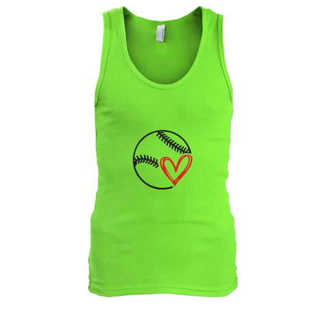 Image of Baseball Love Tank - Lime / S / Mens Tank Top - Tank Tops