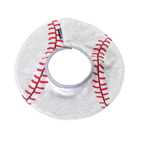 Image of Cotton Waterproof Soft Adjustable 360 Rotating Double Snap-fastener Baby Bib Baseball Pattern - Kid & baby