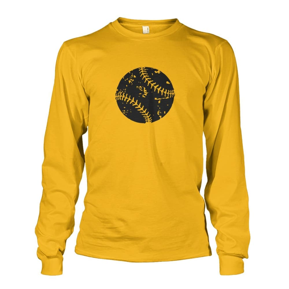 Distressed Baseball Long Sleeve - Gold / S / Unisex Long Sleeve - Long Sleeves
