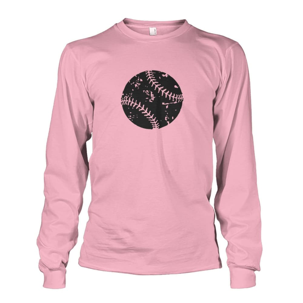 Distressed Baseball Long Sleeve - Light Pink / S / Unisex Long Sleeve - Long Sleeves