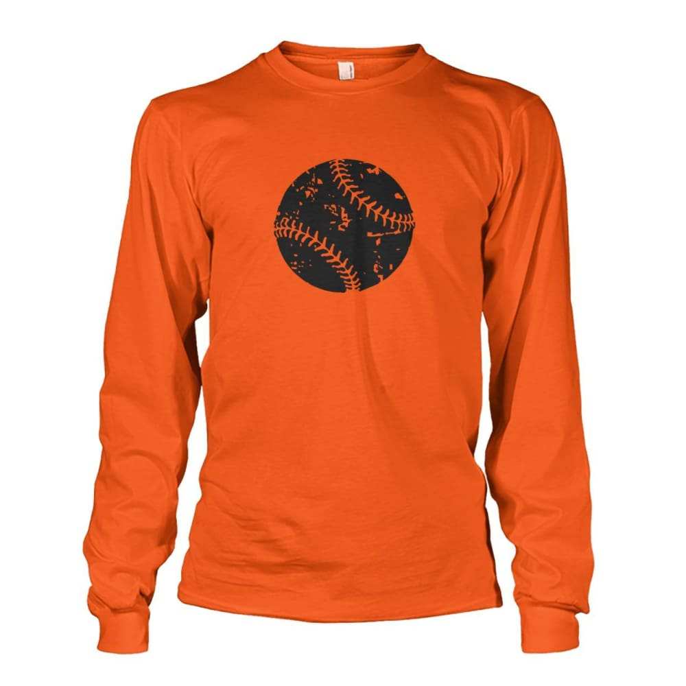 Distressed Baseball Long Sleeve - Orange / S / Unisex Long Sleeve - Long Sleeves