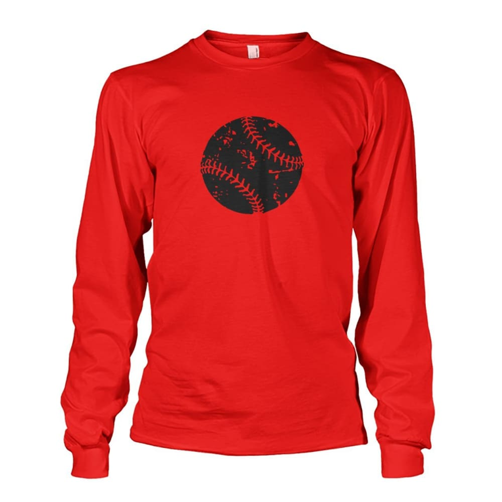 Distressed Baseball Long Sleeve - Red / S / Unisex Long Sleeve - Long Sleeves