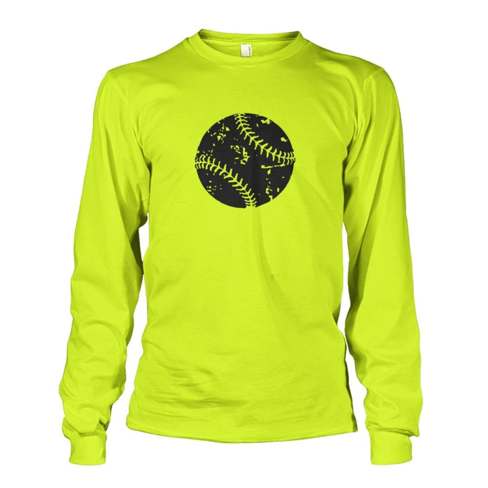 Distressed Baseball Long Sleeve - Safety Green / S / Unisex Long Sleeve - Long Sleeves