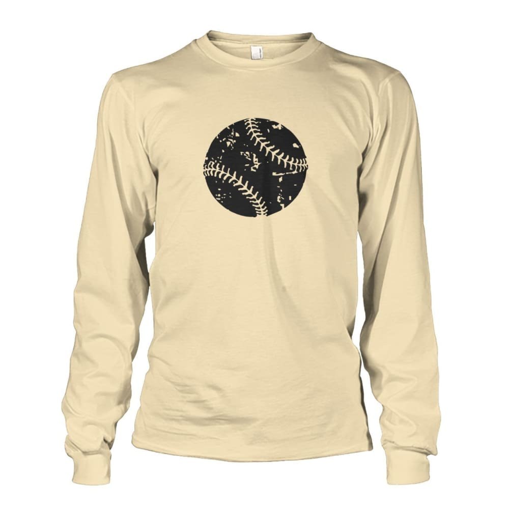Distressed Baseball Long Sleeve - Sand / S / Unisex Long Sleeve - Long Sleeves