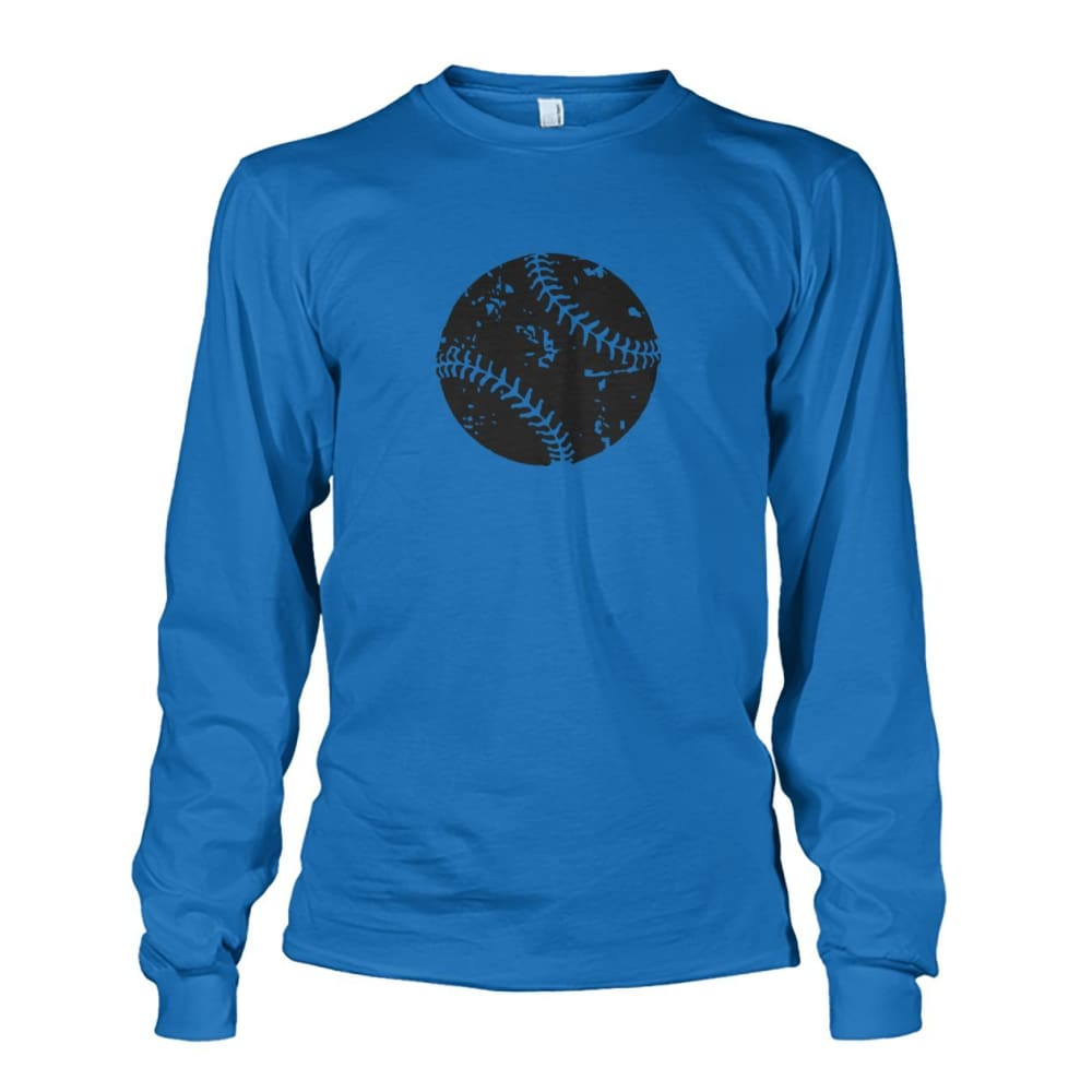 Distressed Baseball Long Sleeve - Sapphire / S / Unisex Long Sleeve - Long Sleeves
