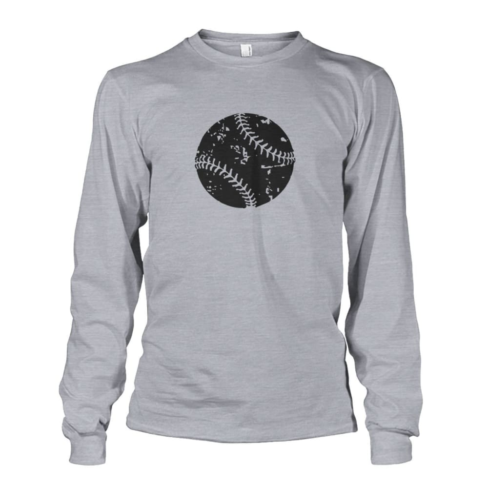 Distressed Baseball Long Sleeve - Sports Grey / S / Unisex Long Sleeve - Long Sleeves