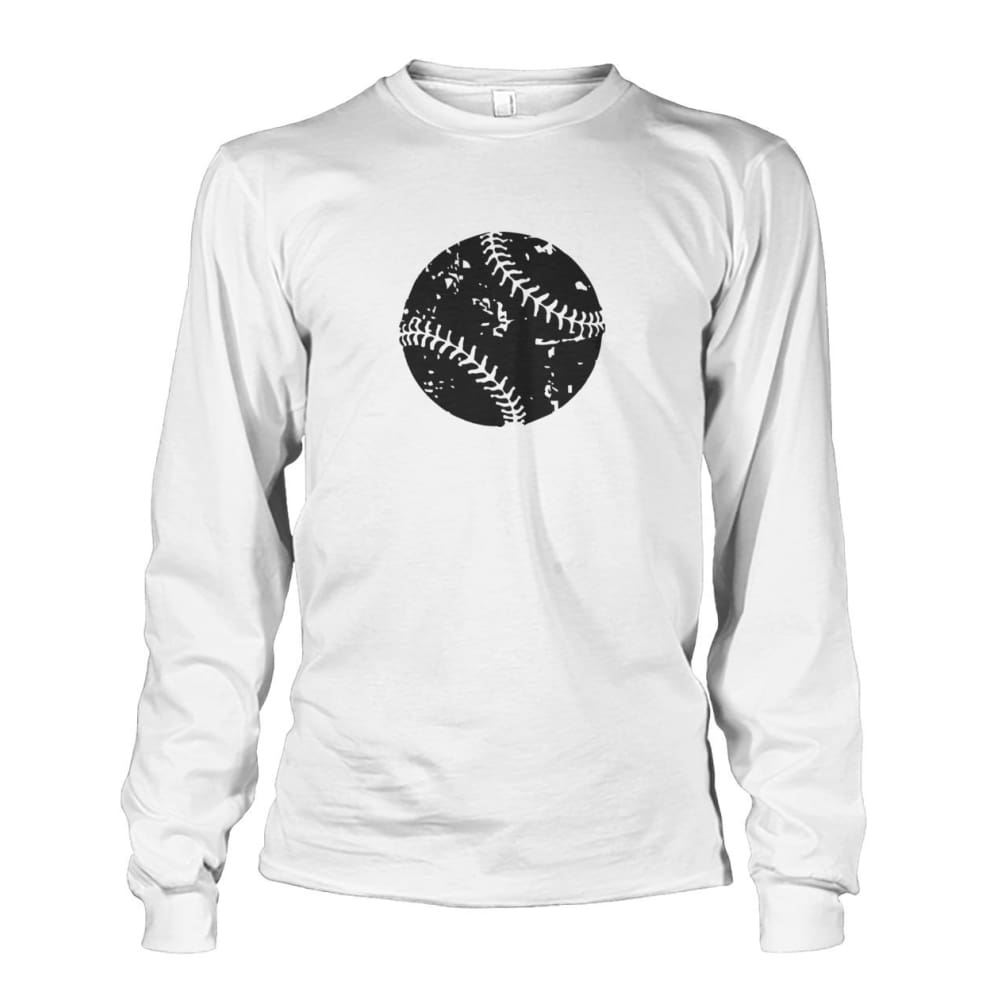 Distressed Baseball Long Sleeve - White / S / Unisex Long Sleeve - Long Sleeves
