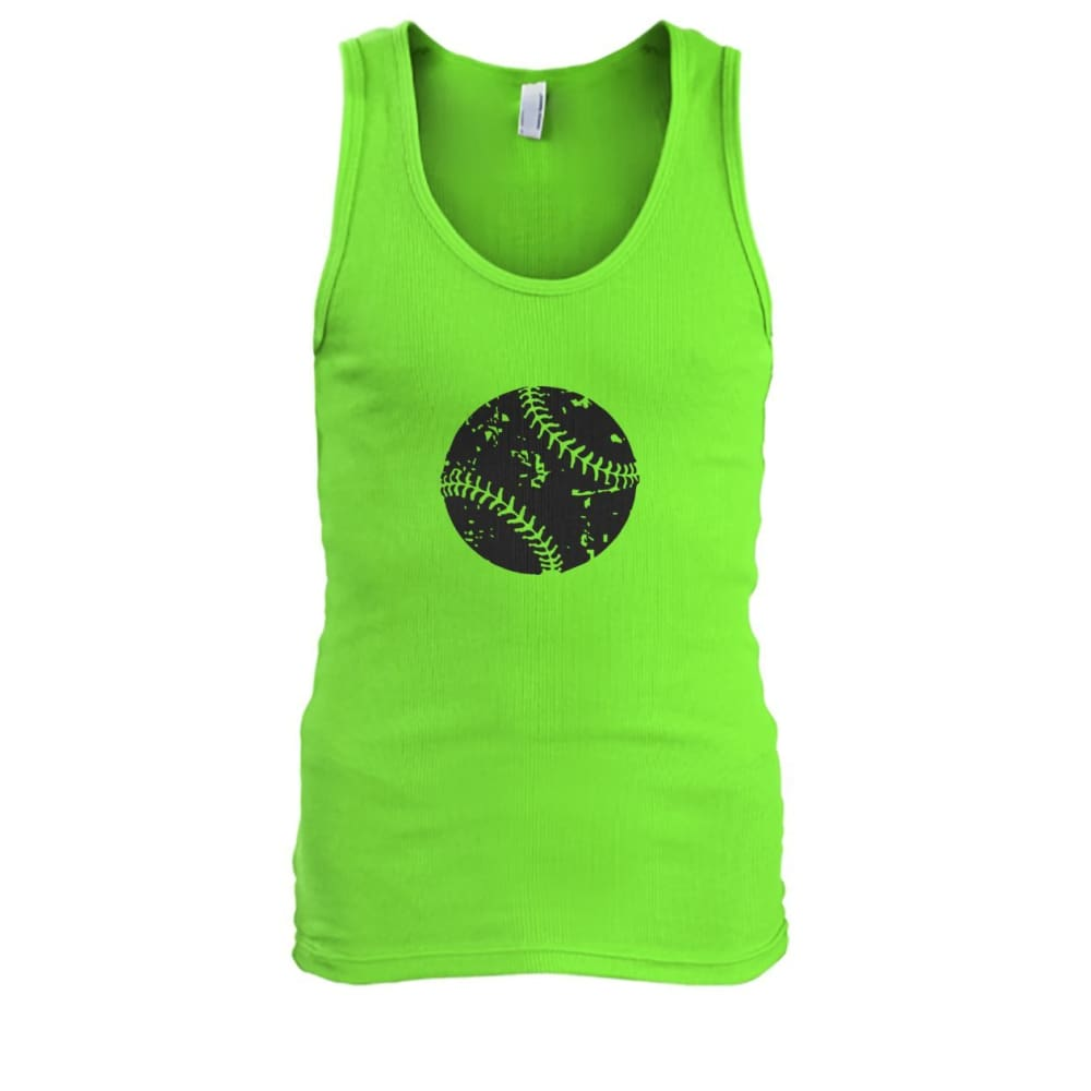 Distressed Baseball Tank - Lime / S / Mens Tank Top - Tank Tops