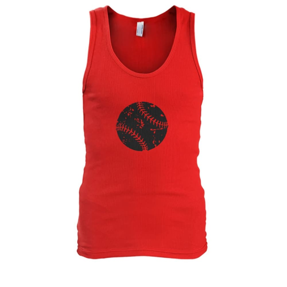 Distressed Baseball Tank - Red / S / Mens Tank Top - Tank Tops