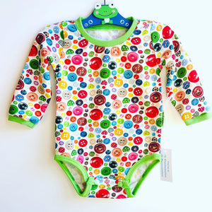 Handmade Baby Set 'Buttons'- READY TO SHIP size 3-6m