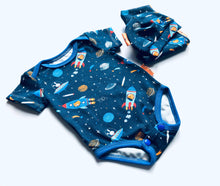 Load image into Gallery viewer, Handmade Welcome Baby Gift Set - ORGANIC 'Rockets' size 0-3m READY TO SHIP