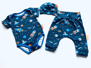 Handmade Welcome Baby Gift Set - ORGANIC 'Rockets' size 0-3m READY TO SHIP