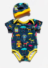 Load image into Gallery viewer, Handmade Baby Set 'RAINBOTS' - ORGANIC/GOTS CERTIFIED; READY TO SHIP size 3-6m