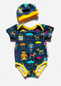 Handmade Baby Set 'RAINBOTS' - ORGANIC/GOTS CERTIFIED; READY TO SHIP size 3-6m
