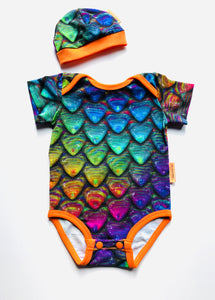 Handmade Baby Set 'Rainbow scales' - ORGANIC; READY TO SHIP size 3-6m