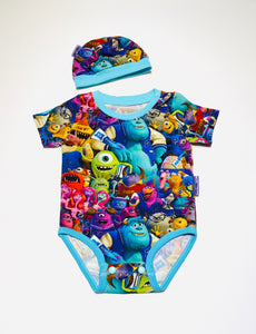 Handmade Baby Set 'Monsters University' - READY TO SHIP size 3-6m