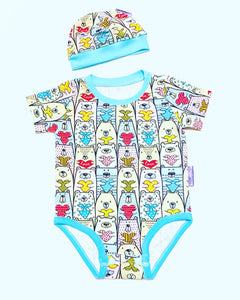 Handmade Baby Set 'Bears in Love' - READY TO SHIP size 3-6m