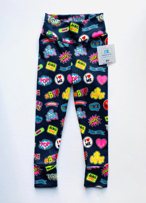 Handmade leggings/yoga pants style '#BFF'; size 2T - READY TO SHIP