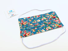 Load image into Gallery viewer, Fabric Face Mask with elastic (Barrier Mask) - Roses on blue ***BACK IN STOCK***