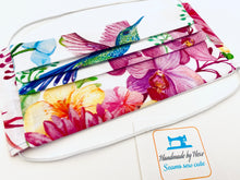 Load image into Gallery viewer, Fabric Face Mask with elastic (Barrier Mask) - Hummingbirds & Orchids ***BACK IN STOCK***