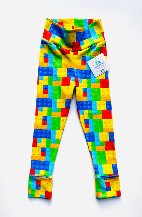 Handmade leggings/yoga pants style 'Lego'; size 2T - READY TO SHIP