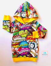 Load image into Gallery viewer, Handmade Baby Hoodie 'Comic'- made to order
