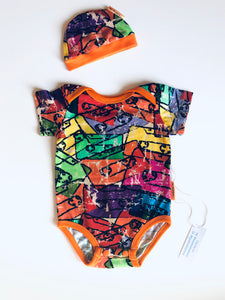 Handmade Baby Set 'Cassettes' - READY TO SHIP size 3-6m