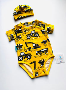 Handmade Baby Set 'Big Yellow Diggers'; READY TO SHIP size 3-6m