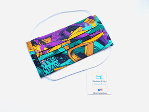 Fabric Face Mask with elastic (Barrier Mask) - Street Art (Green/Purple)