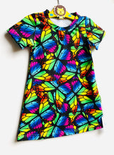 Load image into Gallery viewer, Handmade T-shirt Dress 'Rainbow Butterflies' size 18-24m READY TO SHIP