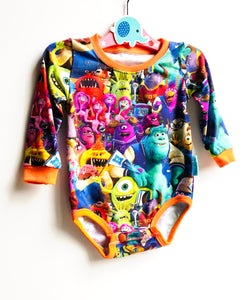 Handmade baby T-shirt/bodysuit All in 1 'Monsters University' - made to order