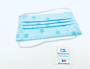 Fabric Face Mask with elastic (Barrier Mask) - Blue Hexagons